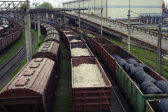 Freight trains on city cargo terminal. Freight full trains on city cargo terminal Royalty Free Stock Images
