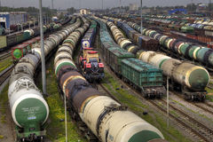 Freight trains on city cargo terminal Stock Image