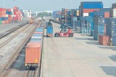 Freight Trains On Cargo Terminal Stock Photo