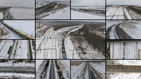 Freight Trains Passing. Aerial. Multiscreen montage. stock video