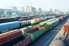 Freight trains and railroad lines Stock Images