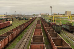 Freight trains. At railway station stock photo