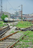 Freight trains at railway station Stock Photography
