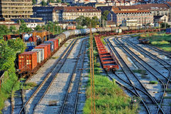 Freight trains at railway station Royalty Free Stock Photo