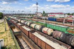 Freight trains at a railway station, view from above in summer d Royalty Free Stock Image