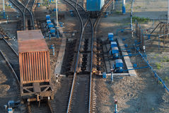 Freight Trains and Railways on big railway station Royalty Free Stock Image