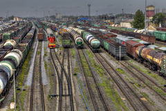Freight trains ready to depart for shunting yard, Russia. royalty free stock images