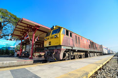 Freight trains running through the station. Royalty Free Stock Photography