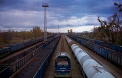Freight trains set on the siding royalty free stock photography