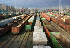 Freight trains at a station Royalty Free Stock Images
