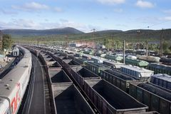 Freight trains at the station Kandalaksha Stock Image