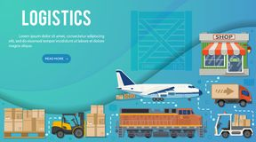 Freight Transport and Logistics Banner Infographics royalty free illustration