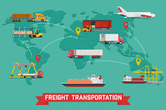 Freight Transport and Packaging Infographics. Vector infographic of worldwide shipping, heavy transport, delivery ways and logistics in business and industry Royalty Free Stock Image