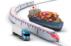 Freight transport by truck, rail and ship Royalty Free Stock Images