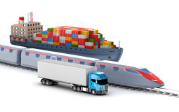 Freight transport by truck, rail and ship Royalty Free Stock Photo