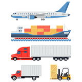 Freight transportation and delivery logistics flat Stock Photography