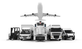 Freight Transportation. Isolated on white background. 3D render stock illustration