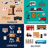 Freight transportation and logistics flat icons Royalty Free Stock Photo
