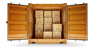 Freight transportation, package shipment, shipping and delivery concept Royalty Free Stock Image