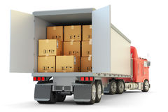 Freight transportation, packages shipment and shipping goods concept Royalty Free Stock Images
