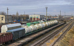Freight transportations. Wagons for the transport of different types of cargo by rail Stock Photography