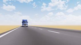 Freight truck driving on empty desert road 3D