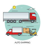 Freight truck flat outline concept. Cargo auto global transport logistics. Transportation by road. Royalty Free Stock Photos