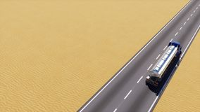 Oil truck on desert road loop able 3D animation. Freight truck with gas or oil tank moving on empty highway road among abstract sandy desert with copy space stock footage