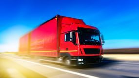 Freight truck on road . Container on the big highway. transport loads royalty free stock photo