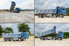 Freight trucks with dump body, postcard Stock Photos