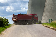 Freight trucks and nuclear power plant Dukovany in Czech Republic Europe Royalty Free Stock Images