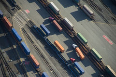 Freight Trucks in Trainyard - Aerial. Trucks on Harbor Island waiting to head out Stock Images