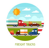 Freight trucks transport background in flat design Royalty Free Stock Photography