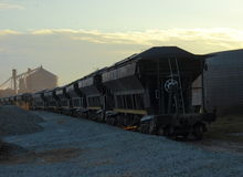 Freight wagons. Argentinian freight train wagons mineral Royalty Free Stock Images