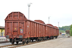 Freight wagons. Cargo area with open wagons Royalty Free Stock Photos