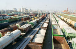 Freight wagons on cargo terminal Stock Photos