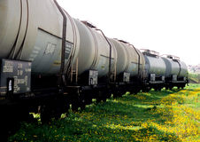 Freight wagons on a grass royalty free stock photos
