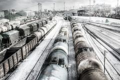 Freight wagons, HDR Royalty Free Stock Photography