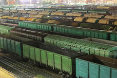 Freight wagons on the railway tracks Stock Photo