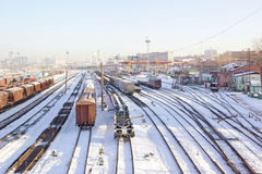 Freight wagons under snow Stock Photography