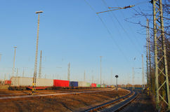 Train on freight yard Stock Photo