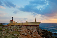 Freighter aground Stock Images