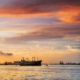 Freighter anchored Stock Images