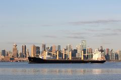 Freighter Anchoring in Burrard Inlet, Vancouver Stock Photography