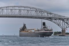Freighter at the Blue Water Bridge Royalty Free Stock Photo