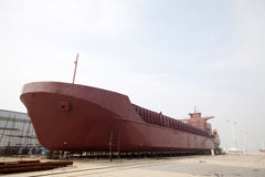 Freighter built in a shipyard Stock Photography
