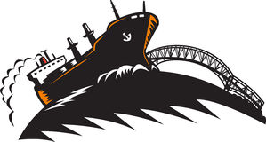Freighter Cargo Container Ship With Bridge. Illustration of a cargo freighter container ship at sea with bridge in the background done in retro woodcut style Royalty Free Stock Photo