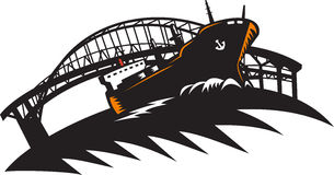 Freighter Cargo Container Ship With Bridge. Illustration of a cargo freighter container ship at sea with bridge in the background done in retro woodcut style Royalty Free Stock Images
