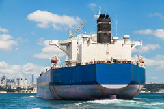 Freighter crossing the Bosphorus strait Stock Photography