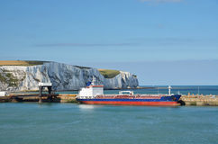 Freighter in Dover harbour. Freighter waiting in the harbour of Dover, Southengland Royalty Free Stock Photos